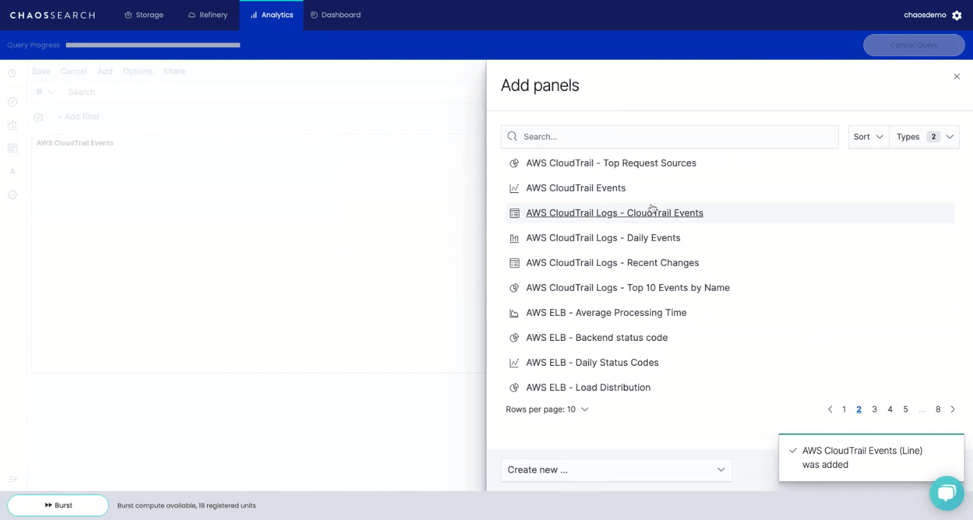 Kibana Dashboard Add Panels